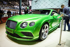 Bentley Continental GT rusar, den motoriska showen Geneve 2015 Arkivbilder