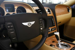 Bentley Continental steering wheel Stock Images