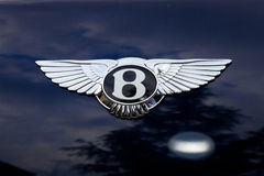 Bentley emblem. On blue car - outside shoting Royalty Free Stock Photo