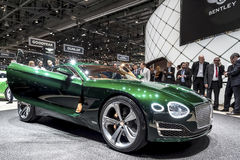 Bentley EPX 10 concept car. Green Bentley EXP 10 concept car at show in Geneva, Switzerland Royalty Free Stock Image