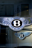 Bentley Logos. A pair of shiny Bentley, Car logos Stock Photos