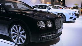 Bentley motor show stand with the Flying Spur and Continental GT stock video