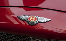 Bentley Motors Badge on Bonnet. London, England - June 18, 2010: The Bentley Motors Badge on Bonnet of Luxury Car, Bentley Motors Limited was founded in 1919 Royalty Free Stock Photos