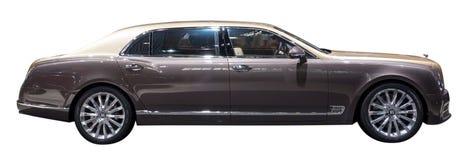 Bentley Mulsanne EWB limousine. Side of Bentley Mulsanne EWB limousine isolated on white Royalty Free Stock Photo