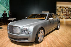 Bentley Mulsanne - Geneva Motor Show 2011. The latest model from Bentley is the Mulsanne, a limousine powered by a massive 6.75 liter V8 producing 505 bhp and Royalty Free Stock Photos