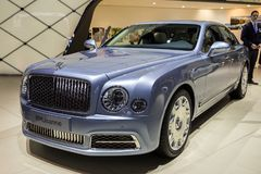2016 Bentley Mulsanne luxury car. GENEVA, SWITZERLAND - MARCH 1, 2016: Bentley Mulsanne luxury car showcased at the 86th Geneva International Motor Show Stock Photos