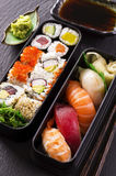 Bento Box with Sushi and Rolls Stock Photos