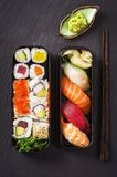 Bento Box with Sushi and Rolls Stock Photo