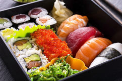 Bento Box with Sushi and Rolls Stock Photography