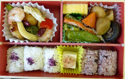 Bento box. The traditional meal when on the move in Japan Royalty Free Stock Photos