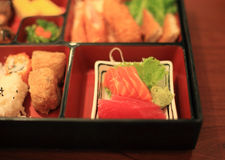 Bento box with tuna and salmon sashimi Stock Images