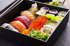 Bento Box With Sushi And Rolls Royalty Free Stock Images