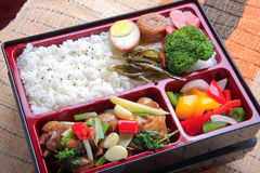 Bento food of plain rice and fried stewed chicken meat eggs broc Royalty Free Stock Photography