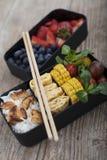 Bento-Kasten mit unterschiedlichem Lebensmittel stockfotografie