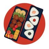 Bento - lancheira japonesa com bolas de arroz ilustração royalty free