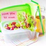 Bento lunch för ditt barn i skolan, ask med ett sunt sandwic Royaltyfria Bilder