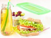 Bento lunch för ditt barn i skolan, ask med ett sunt sandwic Fotografering för Bildbyråer