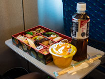 Bento Lunch @ Shinkansen. Bento Lunch with tea on the Shinkansen while traveling to Kyoto from Tokyo Stock Photo