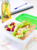 Bento lunch for your child in school, box with a healthy sandwic Stock Photo