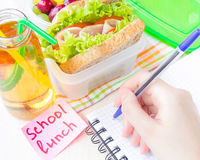Bento lunch for your child in school, box with a healthy sandwic Royalty Free Stock Photography