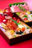 Bento von frischen Meeresfrüchten mit Hummer, Thunfisch, Garnele und Muscheln auf r Lizenzfreies Stockfoto