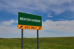 US Highway Exit Sign for Benton Harbor. Benton Harbor `EXIT ONLY` US Highway / Interstate / Motorway Sign royalty free stock photos