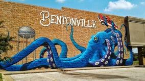 Bentonville Arkansas väggmålning Arkivfoto