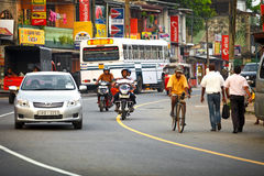 BENTOTA, SRI LANKA - APR 27: Common Sri Lankian crowded street w Royalty Free Stock Image