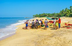 Fishermen`s beach in Bentota Stock Images