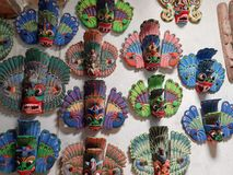 Bentota, Sri Lanka - May 04, 2018: Traditional colorful carved wooden masks in a souvenir shop stock photo