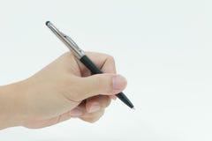 Benutzen Sie einen Stift, um zu schreiben Stockfotos