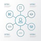 Benutzer-Entwurfs-Ikonen eingestellt Sammlung des Benutzers, entfernen, Code und andere Elemente Schließt auch Symbole wie Schere lizenzfreie abbildung