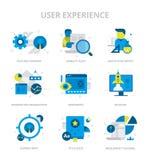 Benutzer-Erfahrungs-flache Ikonen lizenzfreie abbildung