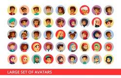 Benutzeravataras des Sozialen Netzes vector Karikaturillustration der unterschiedlichen Nationalität der Leute und der Kinder für stock abbildung