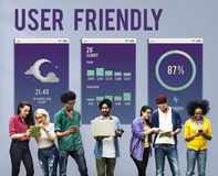 Benutzerfreundliches bewegliches Schnittstelle Apps-Konzept stockbild