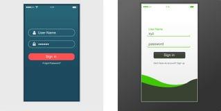 Benutzerschnittstelle, Anwendungsschablonendesign für Handy Stockfoto