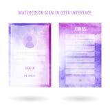 Benutzerschnittstellen-Aquarellsatz Stockbilder