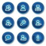 Benutzerweb-Ikonen, blaue Kreistasten Stockbild