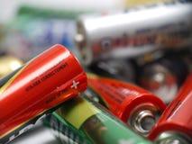 Benutzte AA-Batterien Stockfoto
