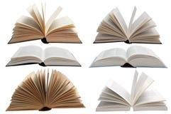 Benutzte Bücher öffnen sich Stockfotos