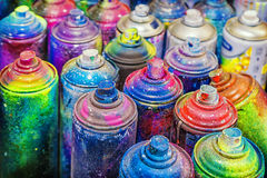Benutzte Dosen Sprühfarbe Lizenzfreie Stockbilder