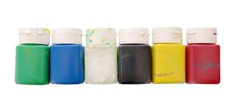 Benutzte Farbenflaschen Lizenzfreies Stockfoto