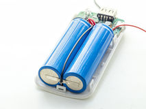 Benutzte Lithiumeisenbatterie mit Draht Lizenzfreie Stockfotografie
