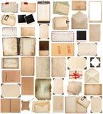 Benutzte Papierblatt-, Rahmen-, Buch-, Klemmbrett- und Fotoecke Stockfotos