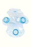 Benutzte Plastikflaschen Gasmaske simbol Getrennt stockfotografie