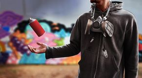 Benutzte Sprühfarbe der Graffiti Künstler kann Lizenzfreie Stockfotografie
