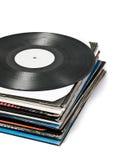Benutzte Vinylsätze Stockbild