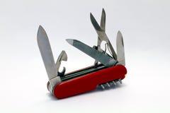 Benutztes Schweizer Messer Stockfotos