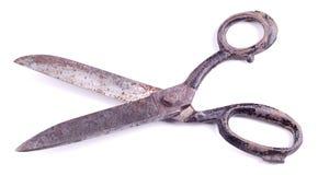 Benutztes verrostetes Metall scissor getrennt auf Weiß Lizenzfreies Stockfoto