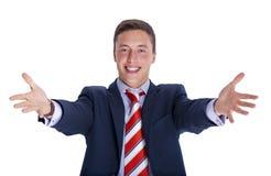 Benvenuti dell'uomo d'affari con il sorriso Immagine Stock Libera da Diritti